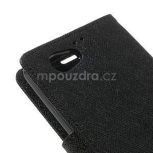 Fancy peněženkové pouzdro na Sony Xperia Z1 Compact - černé - 7