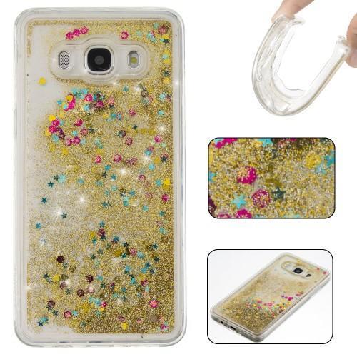 Přesýpací gelový obal na mobil Samsung Galaxy J5 (2016) - zlaté flitry 84df087acf9