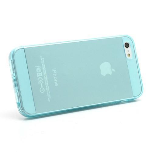 Gelový transparentní obal na iPhone 5 a 5s - světle modrý - Mpouzdra.cz ed6db053d58